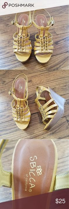 """Sbicca yellow open toe leather wedge sandals 7.5 SBICCA mustard yellow vegan leather open toe sandals. Wedge measures approx 4.5"""". A few scuffs on front of shoes (see last 2 pictures) but nothing noticeable while wearing. Still in great condition. Sbicca Shoes Wedges"""