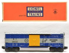 Lionel postwar 6464-150 Missouri Pacific IIa boxcar with blue body mold, solid yellow doors and Missouri Pacific Lines seal in the fifth panel next to the door in OB.  The car is C6-7.  The OB is complete with all flaps attached.