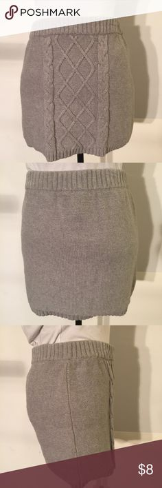 Grey Knit Sweater Skirt XL Grey Knit Sweater Skirt. True to size and very comfortable. Fabric will stretch. I am 5 foot and the dress come to my mid-thigh. Worn a few times. Cherokee Skirts Midi