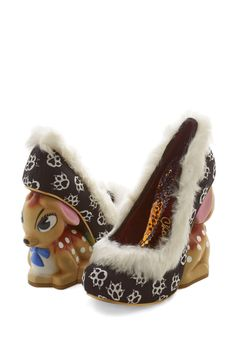 Girls Just Wanna Have Fawn Heel by Irregular Choice - High, Faux Fur, Woven, Mixed Media, Multi, Novelty Print, Girls Night Out, Statement, Critters, Wedge