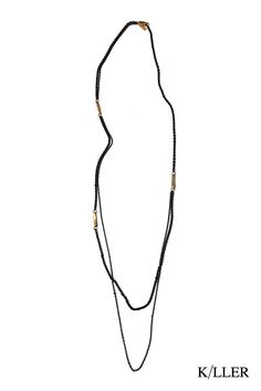 K/LLER COLLECTION E1  SCOLECITE BEAD DOUBLE CHAIN NECKLACE