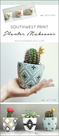 {Tutorial} DIY Southwest Planter Makeover handpainted using Chalkworthy Antiquing Paint.  Why settle for drab planters, when you can easily personalize them to perfectly match your style & decor!  (www.chalkworthy.com)