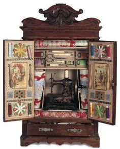 "herminehesse: "" Doll Armoire as Antique Sewing Center - too adorable for words!! """