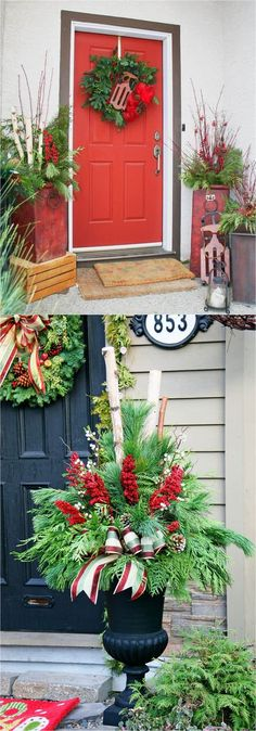 24 Stunning Christmas pots and planters to DIY for almost free How to create colorful winter planters as beautiful Christmas outdoor decorations with evergreens berries p. Christmas Urns, Outdoor Christmas Decorations, Winter Christmas, Christmas Wreaths, Holiday Decor, Thanksgiving Holiday, Thanksgiving Decorations, Christmas Projects, Christmas Crafts