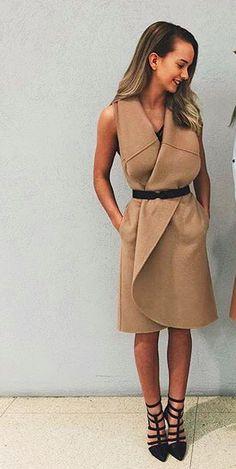 tan waistcoat dress // kookai