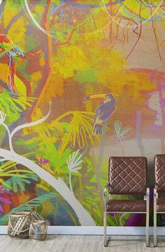Tucani e Cuba alle pareti? Tropical Doors, Tropical Wallpaper, 2017 Design, Tropical Style, Diy Door, Painted Doors, Furniture Decor, House Furniture, Wall Wallpaper