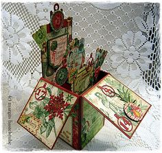 Weihnachtskarte / Pop Up Card In A Box Pop Up, Decorative Boxes, Cards, Match Boxes, Christmas Cards, Weihnachten, Basteln, Popup, Playing Cards