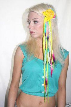 YELLOW FLOWER DIMONTE WOOL DREAD HAIR CLIP FESTIVAL DIY | eBay