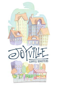 Hand-drawn illustration for a startup coffee brand with a playful, pastel cityscape complete with a pop-up fruit seller and a newsy. Design by jerryhiggy Watercolor Design, Watercolor Illustration, Coffee Branding, Watercolor Techniques, Timeless Classic, Hand Drawn, How To Draw Hands, Logo Design, Typography