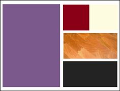 Dining room color scheme: purple walls, cherry butcherblock-topped table, black chairs, red and cream colored accents (placemats/table cloth/etc.).