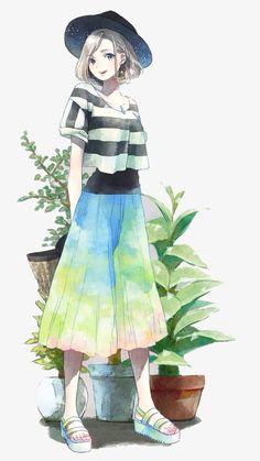 24 Ideas Hair Short Girl Anime Illustrations For 2019 Anime Art Girl, Manga Girl, Manga Anime, Anime Girls, Character Art, Character Design, Anime Lindo, Image Manga, Poses References