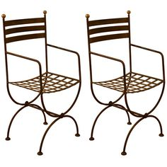 Pair of Chic French 60's Iron Lattice Armchairs in the Style of Jansen | From a unique collection of antique and modern side chairs at https://www.1stdibs.com/furniture/seating/side-chairs/