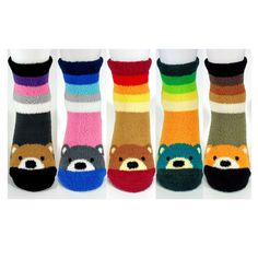3-D Fuzzy Bear Socks Non-Slip Cozy Tactel Winter Bed Fashion Slipper Gift Lot