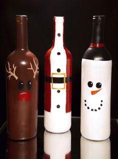 Christmas Wine Bottle Decorations DIY Etsy