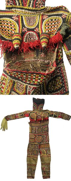 Africa | Dance costume from the Igbo people of Nigeria | It has a very heavy and complex surface of interwoven and appliqued rope-like cloth over a burlap-like base. It has the typically small conical breasts of a female costume