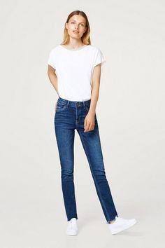 da701e53bca edc by Esprit Stretch-Jeans mit zwei Knöpfen und Fransensäumen
