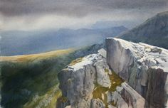 Tryfan South Summit, an original watercolour painting by Rob Piercy
