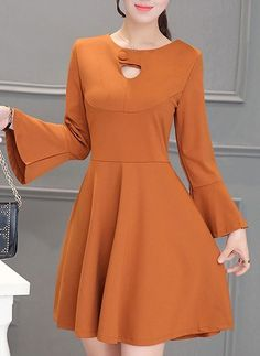 Polyester Solid Long Sleeve Above Knee Casual Dresses Casual Work Dresses, Simple Dresses, Cute Dresses, Beautiful Dresses, Dresses For Work, Plain Dress, Midi Dress With Sleeves, One Piece Frock, Frocks For Girls