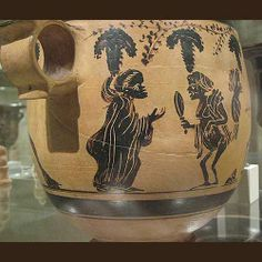 Detail of the decoration on an ancient Greek pottery skyphos, or deep drinking cup.