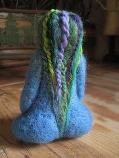 Needle felted, mother earth, blue goddess, original design by Borbala Arvai, made to order - Pin Coffee Needle Felted, Wet Felting, Felt Finger Puppets, Needle Felting Tutorials, Felt Fairy, Mother Goddess, Felt Patterns, Felt Dolls, Mother Earth