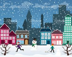 Christmas city royalty-free stock vector art