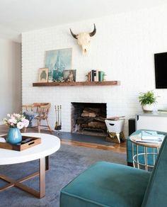 asymmetrical fireplace and mantel ideas