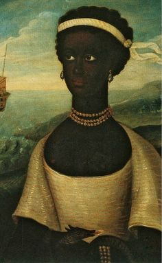 Walter Frier Portrait of the Princess of Zanzibar with an African Attendant Oil on Canvas Scotland (Oterston-John Henderson) 18th Century reproduction of 17th Century Original An inscription on the back reads: John Henderson of Fordell Travelling in his youth thro Several parts of Asia and Africa from ye 1618 to ye 1628 was delivered unto Slavery by a Barbari Prince in Zanquebar on the Cost of Africa where a Princess of that Countrie contrived to the mians of both their Escape and getting