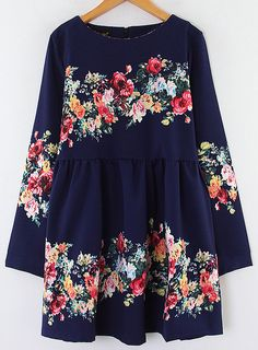 Navy Long Sleeve Floral Print Pleated Dress 0.00