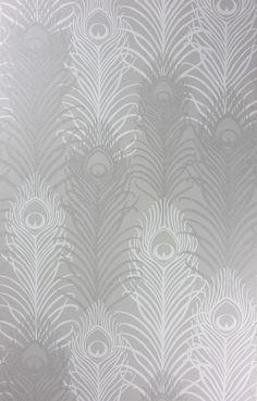 Peacock Wallpaper A signature wallpaper design by Matthew Williamson featuring peacock feathers in silver and white with tiny reflective bea...
