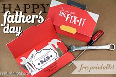 Celebrate Dad by giving the Mr. Fix-It in your life this adorable free DIY card. www.TheDatingDivas.com #freeprintable #FathersDay #DIYcraft