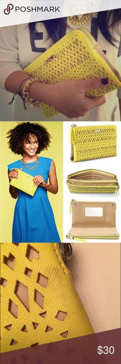 Stella & Dot Yellow Clutch A great clutch with 2 compartments with credit card slots and built in mirror! Gently used with a few rub marks. Not noticeable, you really have to look for them. Stella & Dot Bags Clutches & Wristlets