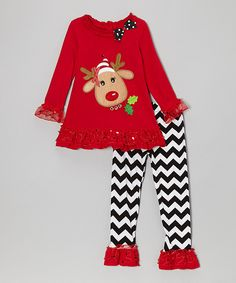 Take a look at this Red Reindeer Ruffle Tunic & Black Zigzag Pants - Infant & Girls on zulily today! 6mos-8, GUARANTEED BY CHRISTM