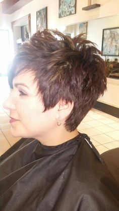 Razor cut and color with highlights