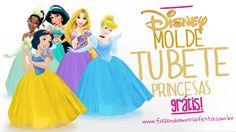 Molde do Tubete Vestido de Princesa, pronto para você imprimir e fazer os seus para festa infantil personalizada das Princesas da Disney, clique e confira