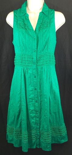 Anthropologie Swiss Dot Shirtdress by Maeve Green Fit Flare s 4 Retail $168   eBay
