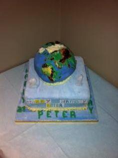 21st globe birthday cake