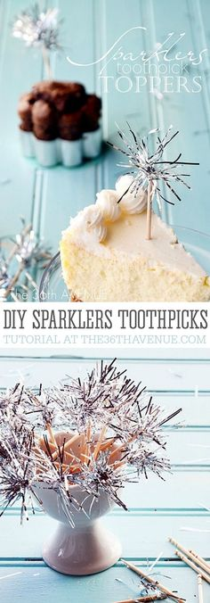 Party Toppers - DIY Sparklers Toothpick Tutorial... Perfect for appetizers and dessert toppers!