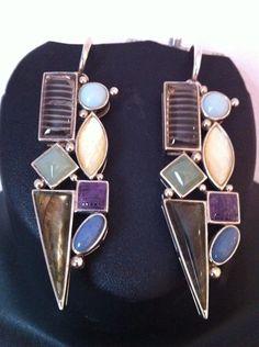 Multi colored earrings in sterling silver