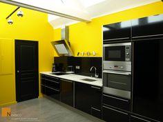 Para Os Ousados Uma Bela Cozinha Com Amarelo E Cinza Design - Cuisine noir et jaune