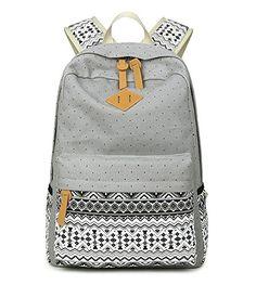 Larori Backpacks for Girls Canvas School Bookbags Back Packs Grey -- Click image for more details.
