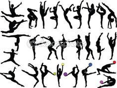 grande coleção de garotas de ginástica - vector