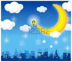 Diese Abbildung zeigt einen jungen Kindes Traumwelt. Mond und Skyline Illustration