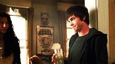 """Logan Lerman as Percy Jackson in """"The Lightning Thief."""" Words cannot even describe how perfect he looks in this gif. I love him..."""