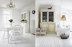 i love white painted floors, and these chairs are lovely
