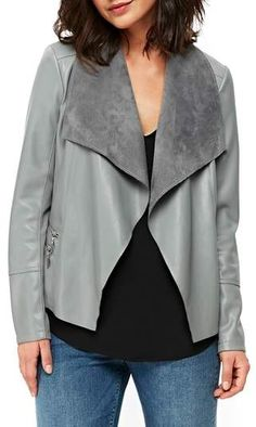 wallis Double Zip Faux Leather Waterfall Jacket Waterfall Leather Jacket, Pu Jacket, Plus Size Coats, Wallis, Fall Outfits, Winter Fashion, Nordstrom, Zip, My Style
