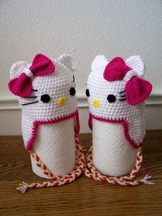 Beautiful Crochet Hello Kitty Hat Size 19  1  by craftswithlove4U, $21.00