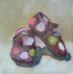 "Daily Paintworks - ""Hannahs Shoes"" - Original Fine Art for Sale - © Carol Josefiak"
