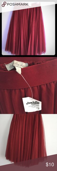 NWT Charlotte Russe tulle Skirt, M NWT. The color is more burgundy, not bright red. Bought but never worn. Lined. The tulle layer is soft, not scratchy. Charlotte Russe Skirts Midi