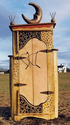 """""""Happy Moon """" Cupboard / Armoire  Fabricated from Western MA salvage  House and tobacco farm materials  Period folk art carving"""