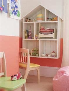 Kids Room Shelving Ideas With Childrens Room Storage Ideas Dolls House Shaped Shelves House Shelves, Bedroom Shelves, Bedroom Storage, Kids Storage, Storage Ideas, Shelving Ideas, Kids Decor, Home Decor, Bedroom Ideas